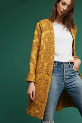 Anthropologie Ochre Jacquard Coat Yellow