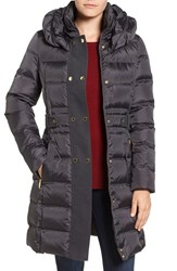Via Spiga Women's Belted Puffer Coat Dark Grey
