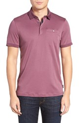 Ted Baker Men's London Charmen Jersey Polo Grape