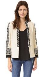 Derek Lam Embroidered Short Coat Cream