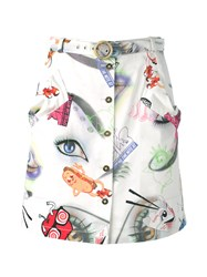 Kenzo Visage Button Down Skirt White
