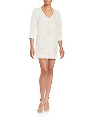 French Connection Embroidered Shift Dress Summer White