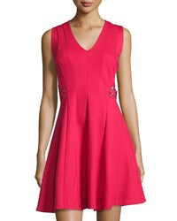 Carmen By Carmen Marc Valvo Sleeveless Fit And Flare Dress W Embroidered Waist Red Glow