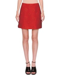 Valentino Daisy Crepe Couture Skirt Red