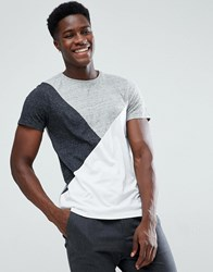 Stradivarius T Shirt With Colour Blocking In Grey And White Grey