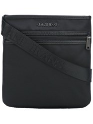 Armani Jeans Zip Up Messenger Bag Black