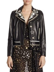 Red Valentino Star Patch Leather Jacket Black