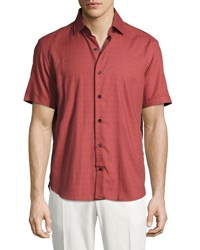 Culturata Medallion Print Short Sleeve Cotton Shirt Red