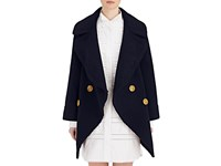 Burberry X Barneys New York Women's Oversized Collar Shearling Peacoat Navy