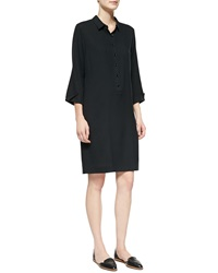 Go Silk 3 4 Sleeve Silk Shirtdress