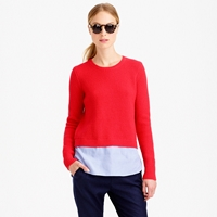 J.Crew Lambswool Shirttail Sweater In Blue