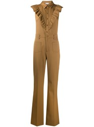 Red Valentino Gabardine Flared Jumpsuit 60