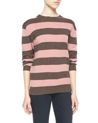Ag Jeans Striped Wales Pullover Sweater Clover Pink Choco