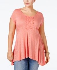 Eyeshadow Plus Size Embellished Swing Top Burnt Glass