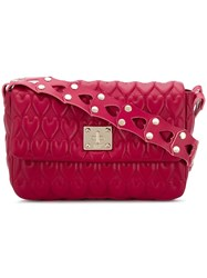 Red Valentino Heart Embossed Shoulder Bag Pink And Purple