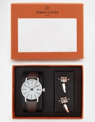 Simon Carter Watch And Ships Wheel Cufflinks Gift Set Brown