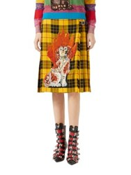 Gucci Embroidered Tartan Wool Skirt Yellow Red