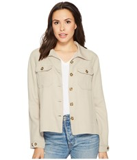 Liverpool Flyaway Shirt Jacket With Patch Pockets In Textured Tencel Chateau Gray Women's Coat Beige