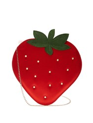 Charlotte Olympia Strawberry Satin Pouch Red