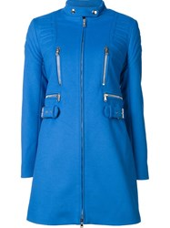 Moschino Ribbed Slim Fit Coat Blue