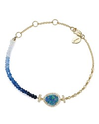 Meira T 14K Yellow Gold Opal And Blue Sapphire Bead Bracelet Blue White
