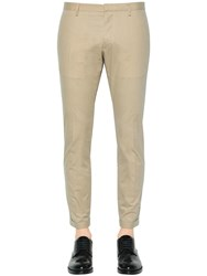 Dsquared Tidy Fit Cotton Twill Pants Beige