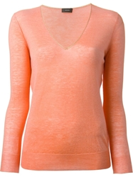 Joseph V Neck Sweater Yellow And Orange