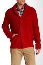 Perry Ellis Long Sleeve Shawl Collar Cardigan Red