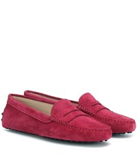 Tod's Gommino Suede Loafers Purple