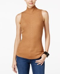 Inc International Concepts Ribbed Mock Neck Sweater Only At Macy's Heather Ginger