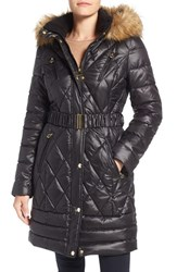 Laundry By Design Women's Faux Fur Trim Quilted Puffer Coat
