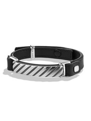 David Yurman Modern Cable Id Leather Bracelet Black