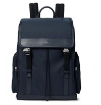 Montblanc Sartorial Jet Cross Grain Leather Trimmed Nylon Backpack Navy
