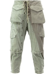 Greg Lauren Cargo Cropped Trousers Green