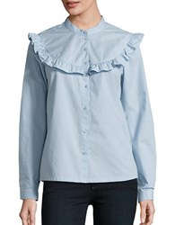 Vero Moda Long Sleeve Ruffled Button Front Shirt Cashmere Blue