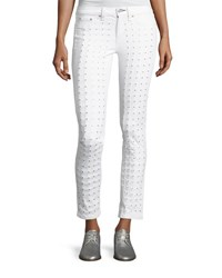 Rag And Bone Studded Skinny Jeans Blanc White