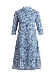 Thierry Colson Angelica Leaf Print Cotton Voile Dress Blue