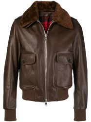 Ami Alexandre Mattiussi Jacket With Shearling Collar Brown