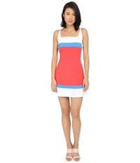 Dsquared Micro Piquet Compact Fit And Flare Dress Coral Blue White Women's Dress Orange