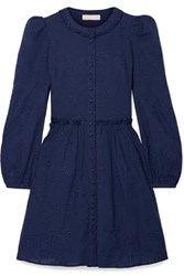 Michael Michael Kors Embroidered Cotton Voile Mini Dress Navy