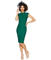 Unique Vintage High Collar Laverne Wiggle Dress Emerald Green