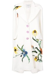 Carolina Herrera Flower Detail Single Breasted Coat White