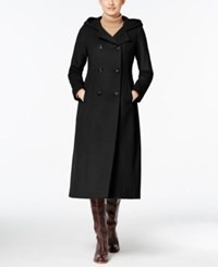 Anne Klein Hooded Double Breasted Maxi Coat Black