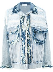 Faith Connexion Frayed Denim Jacket Women Cotton S Blue