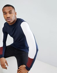 Asos Design Muscle Fit Long Sleeve T Shirt With Turtle Neck And Arm Panels Nvy Wht Cowhide Multi