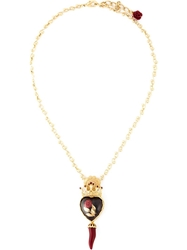 Dolce And Gabbana Crown Rose Chili Pendant Necklace