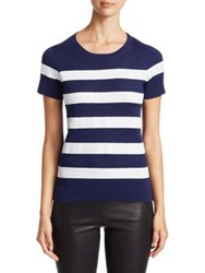 Saks Fifth Avenue Collection Sequin Stripe Silk And Cashmere Tee Ivory Black Navy White
