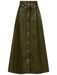 Sonia Rykiel Olive Green Leather A Line Skirt