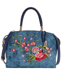 Guess Heather Medium Satchel Blue Denim