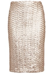 Alice Olivia Ramos Pale Gold Sequinned Pencil Skirt Nude